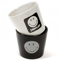 3 petits pots Smiley Noir